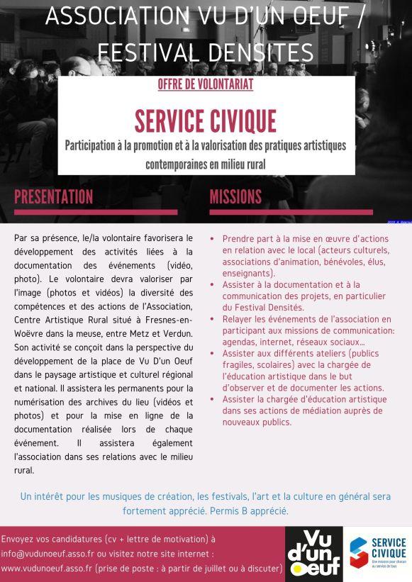 offre de volontariat SERVICE CIVIQUE